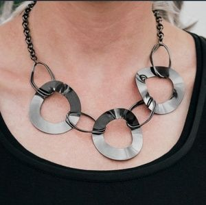 Modern Mechanics Gunmetal Black Rings Necklace Set